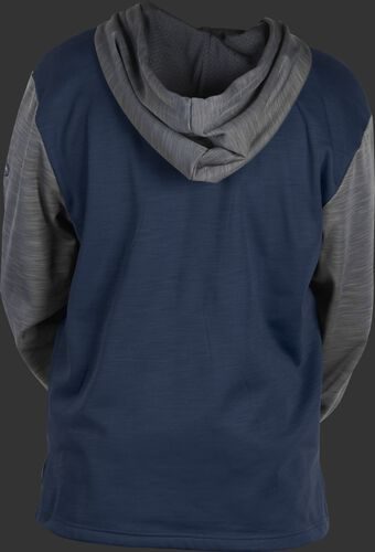 Back of a navy youth long sleeve fleece hoodie with a gray hood and sleeves - SKU: YPFH2PRBB-N/GR