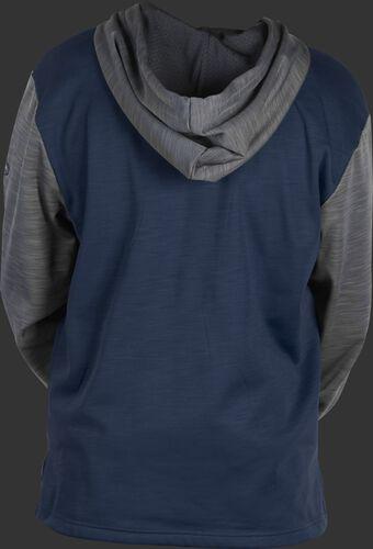 Back of a navy fleece hoodie with gray sleeves and hood - SKU: PFH2PRBB-N/GR