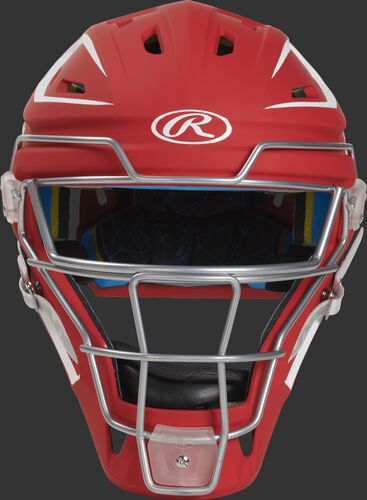 Front of a scarlet CHMCHS Mach hockey-style senior catcher's helmet