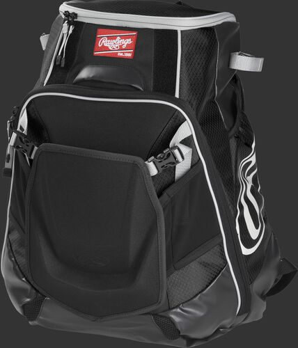Front left of a black VELOBK Rawlings Velo equipment backpack with an Oval R logo on the side compartment