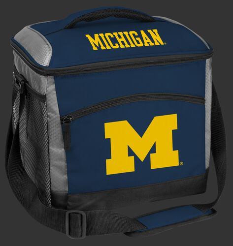 A navy Michigan Wolverines 24 can soft sided cooler with screen printed team logos - SKU: 10223083111