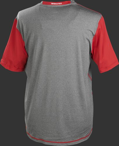 Back of a gray Rawlings Hurler short sleeve shirt with scarlet sleeves - SKU: HSSP-GR/S