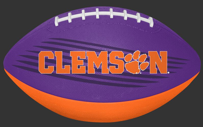 Purple and Orange NCAA Clemson Tigers Downfield Youth Football With Team Name SKU #07903010121