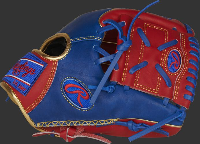 A scarlet/royal PRO204W-8SRG HOH 11.5-Inch Infield/pitcher's glove with a scarlet 1-piece solid web and hand sewn welting