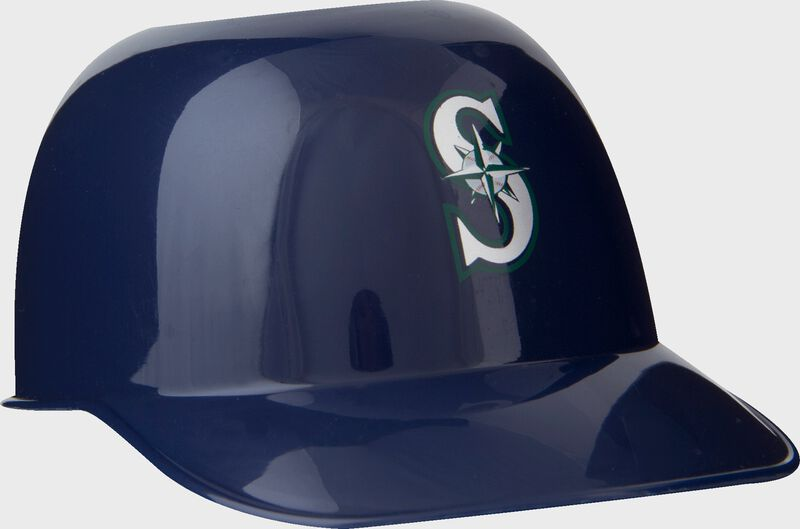 Front of Rawlings Navy Blue MLB Seattle Mariners Snack Size Helmets With Team Logo SKU #01950015121