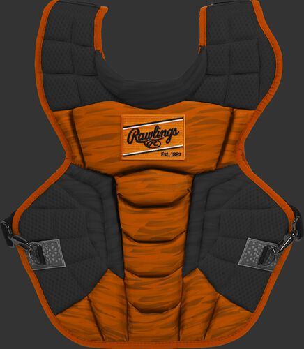 An orange/black CPV2N Rawlings Velo 2.0 intermediate chest protector with a striped pattern
