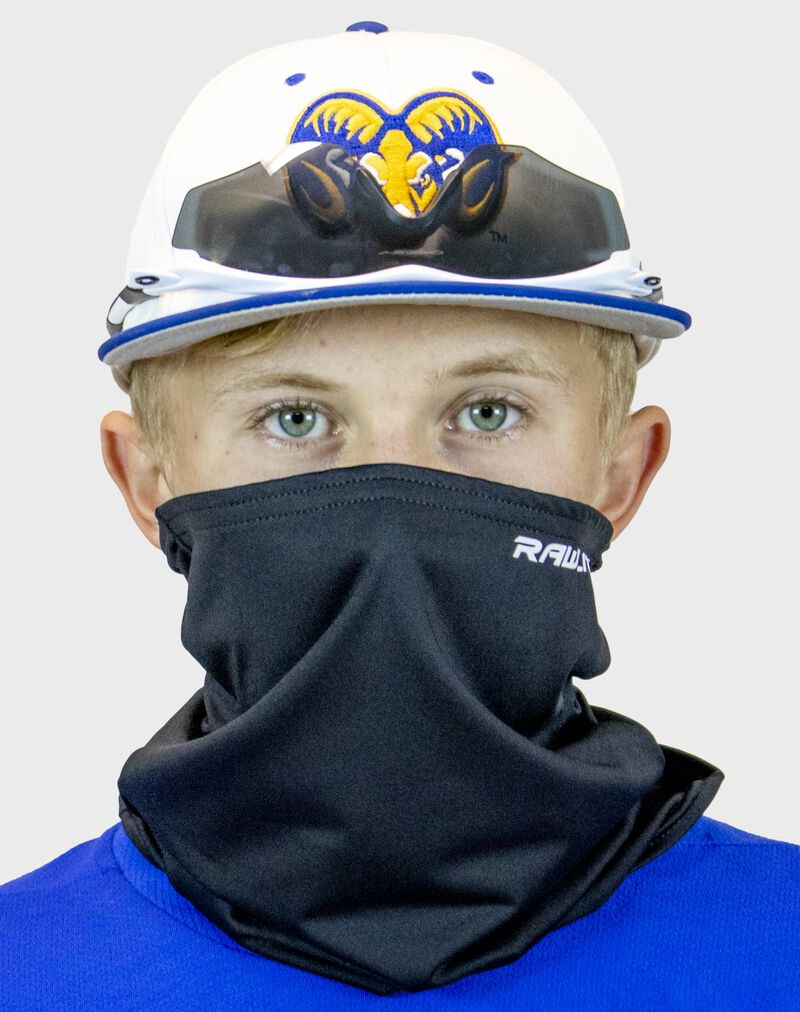 A player wearing a Rawlings protective neck gaiter over his mouth and nose - SKU: RMSKNG-BLK