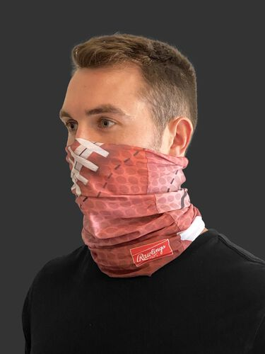 Side view of a guy wearing a Rawlings adult multi-functional head and face gear cover over his mouth & nose - SKU: RC40006-200