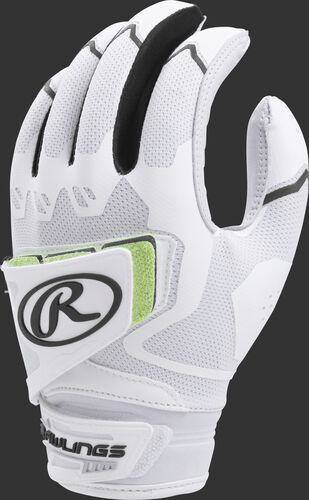 A white FPWPBG-B women's Workhorse batting glove with black trim and pad over the back of the palm