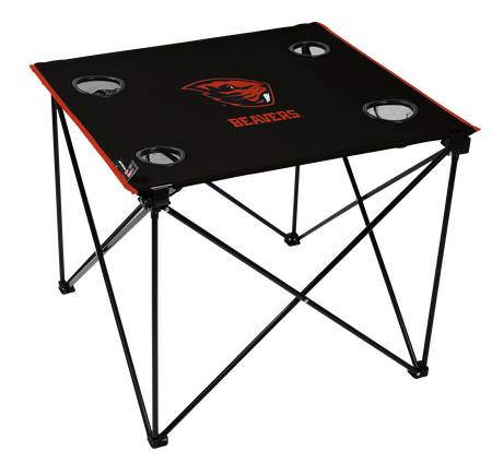 A black NCAA Oregon State Beabers deluxe tailgate table with four cup holders and team logo printed in the middle