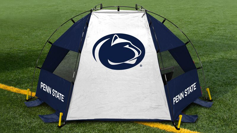 Back of a Penn State sideline sun shelter with a Nittany Lions logo in the middle set up on a field - SKU: 00973050111