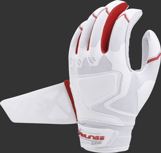 A white/scarlet FPWPBG-S Rawlings women's Workhorse batting glove with the Impax pad removed