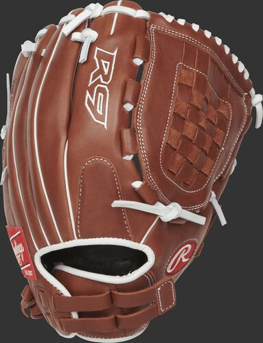 R9SB120-3DB 12-inch R9 softball infield/pitcher's glove with a brown back and Pull-Strap back design