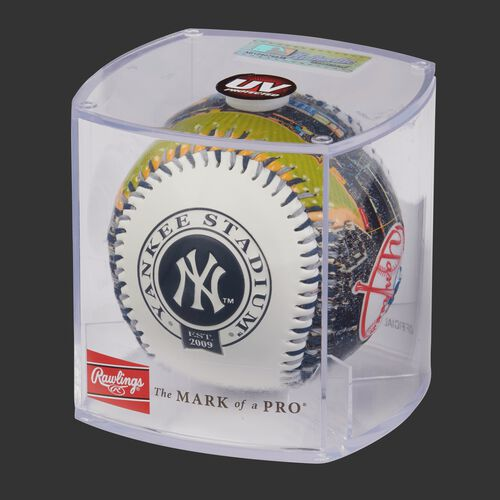 MLB New York Yankees stadium baseball in a display case