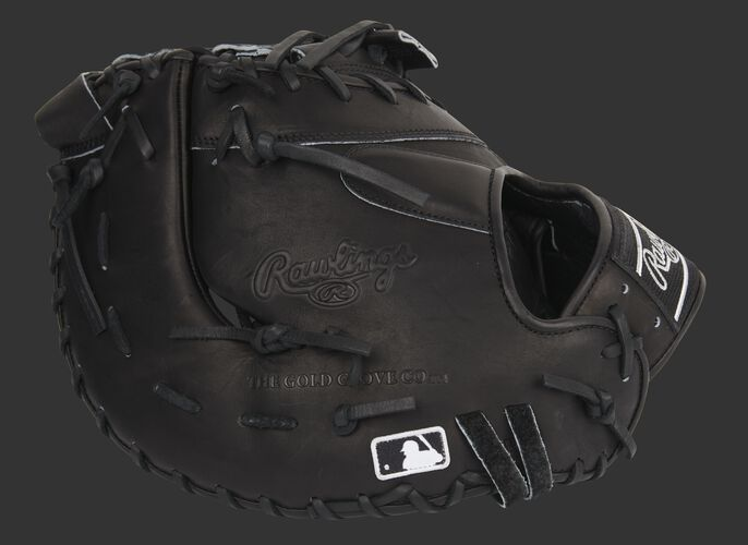 Black back of a Rawlings Pro Preferred 13-Inch first base mitt with the MLB logo on the pinkie - SKU: PROSDCTB