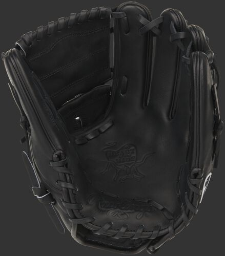 Black palm of a Rawlings Heart of the Hide infield/pitcher's glove - SKU: PRO205W-9B