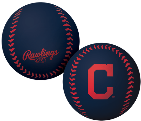A navy Cleveland Indians Big Fly rubber bounce ball