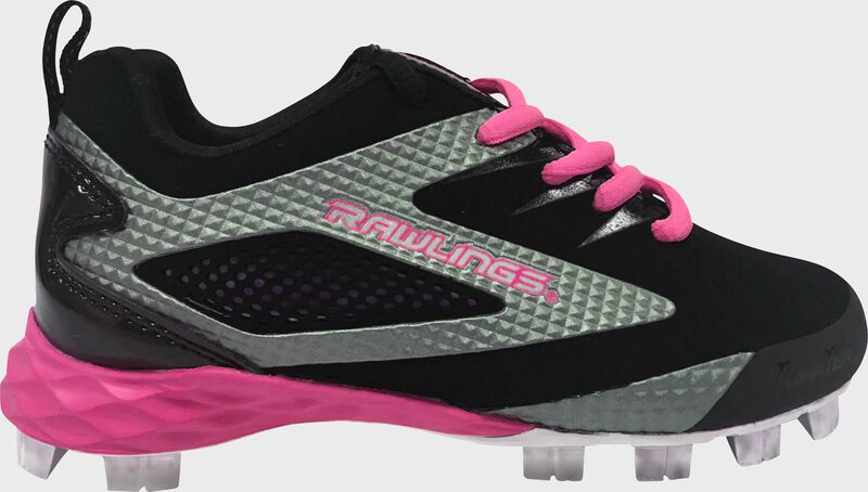 Rawlings Pink, Black, and Gray Misses Capture Low Softball Cleats With Brand Name SKU 34322-GL6