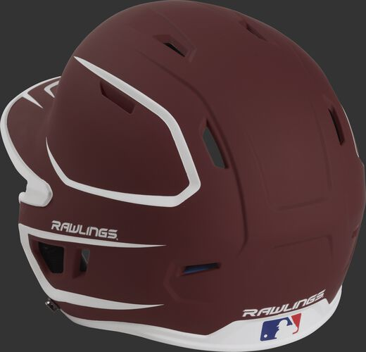 Back left view of a matte cardinal/white MACH series batting helmet with air vents