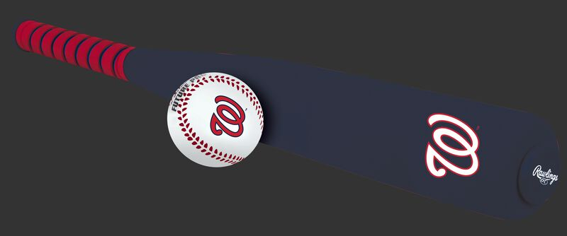 Side of Rawlings Washington Nationals Foam Bat and Ball Set in Team Colors With Team Name and Logo On Front SKU #01860031111