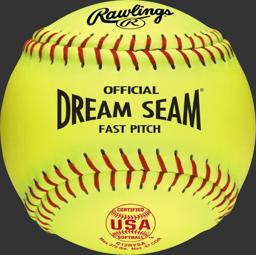 """A yellow C12RYSA USA NFHS Official 12"""" Dream Seam softball with red stitching"""