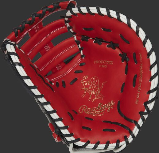 PRODCTSCC Rawlings ColorSync 4.0 first base mitt with a scarlet palm and black laces