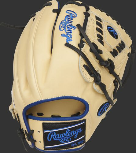 Camel back of a 11.75-Inch Heart of the Hide ColorSync 5.0 infield glove with a black Rawlings patch - SKU: PRO205-30CR