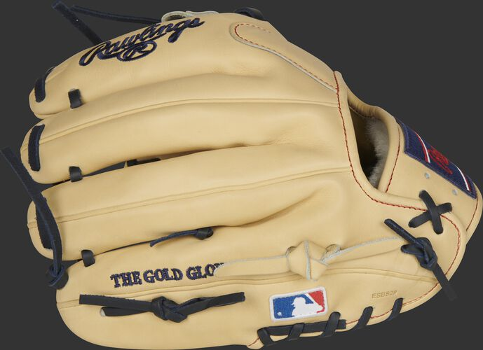 Camel fingers on an 11.5-Inch Rawlings Pro Preferred glove with the MLB logo on the pinkie - SKU: PROS204-2C