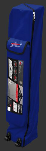 Blue wheeled carry case of a Buffalo Bills canopy with the team logo on the outside compartment - SKU: 02231061111