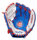 A blue/white Rawlings Chicago Cubs youth glove with a Cubs logo on the palm - SKU: 22000008111 image number null