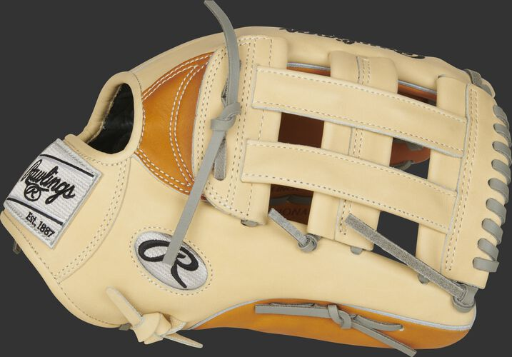 Camel thumb of a 2021 Heart of the Hide 12.75-Inch outfield glove with a camel H-web - SKU: PRO3039-6TC