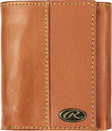 A tan RW80003-204 Bases loaded tri-fold wallet folded closed with a gold Oval R emblem in the bottom right corner