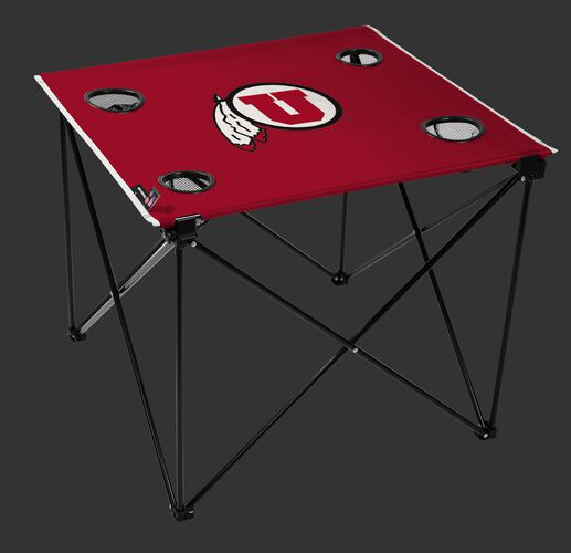 A red NCAA Utah Utes deluxe tailgate table with four cup holders and team logo printed in the middle SKU #00713105111