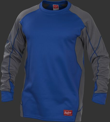 A royal YUDFP4 Dugout fleece pullover with grey sleeves