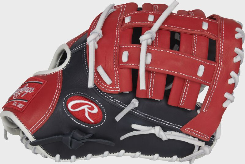 Thumb of a navy/scarlet 2022 Breakout 12-Inch youth first base mitt with a scarlet Modified Pro H web - SKU: RSGBOYPTFM16NS