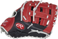 Thumb of a navy/scarlet 2022 Breakout 12-Inch youth first base mitt with a scarlet Modified Pro H web - SKU: RSGBOYPTFM16NS image number null