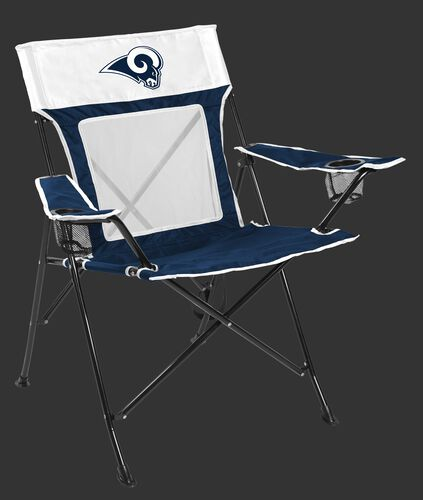 Front of Rawlings Navy and White NFL Los Angeles Rams Game Changer Chair With Team Logo SKU #00651073111