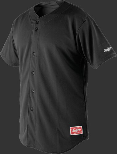 Front of Rawlings Black Youth Short Sleeve Jersey  - SKU #YBJ150
