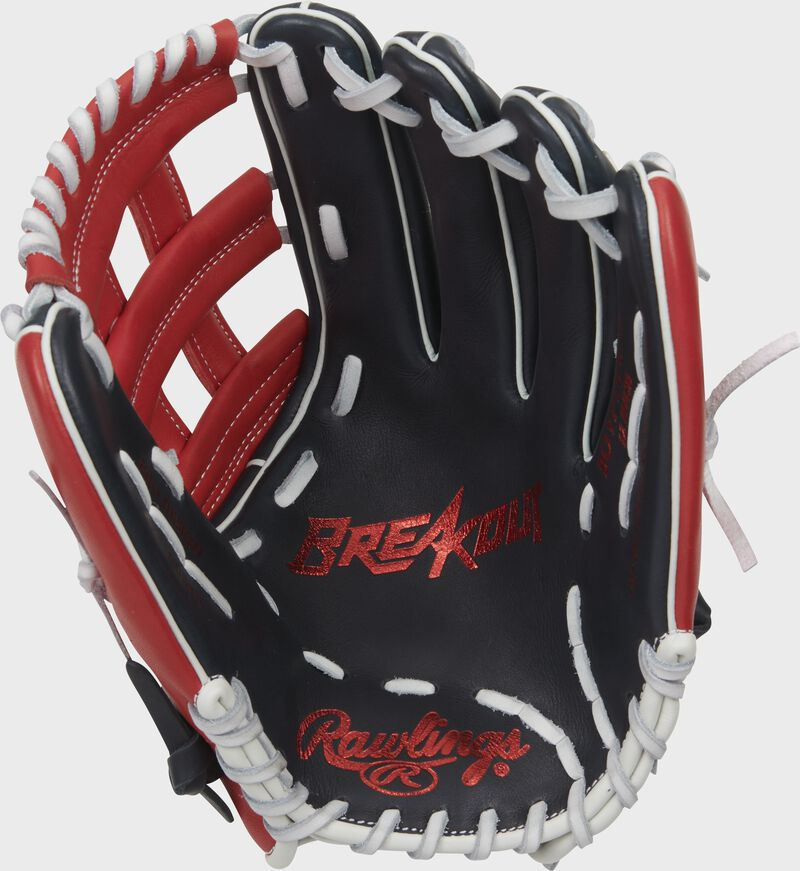Navy palm of a Rawlings Breakout youth outfield glove with a red palm stamp and white laces - SKU: RSGBOYPT6-6NS