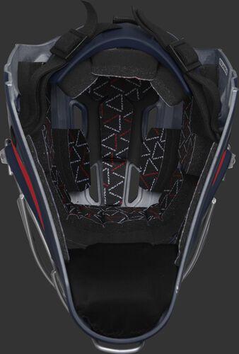 Inside foam of a navy/scarlet CHV27J Rawlings catcher's helmet