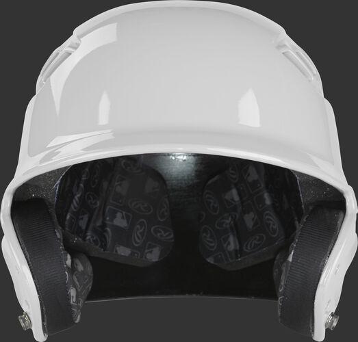 Front of a white R1601 Rawlings Velo gloss batting helmet