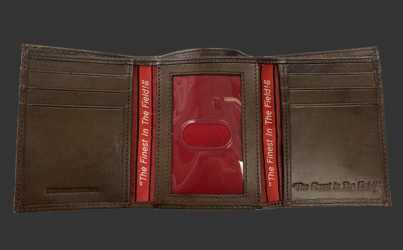 Inside of a brown tri-fold Rawlings debossed stitch wallet with multiple card slots and clear ID window in the middle - SKU: RPW008-200