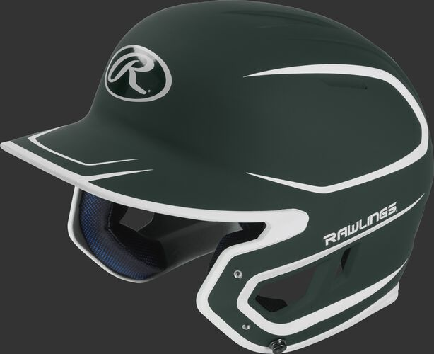 Left angle view of a Rawlings MACH Senior helmet with a two-tone matte dark green/white shell
