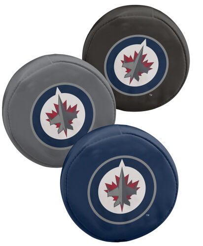 Rawlings NHL Winnipeg Jets Three Puck Softee Set With Black, Grey, and Blue Pucks and Team Logo SKU #00614109111