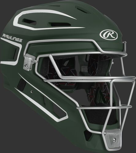 Front right of a dark green CHV27J Rawlings Velo 2.0 catcher's helmet