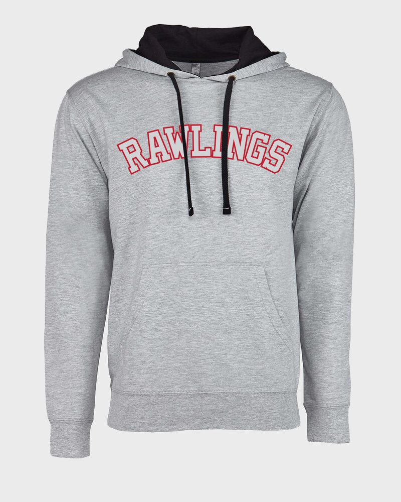 A gray Rawlings mid-weight French Terry hoodie with a black hood and red/white lettering on the chest - SKU: RSGFH-G