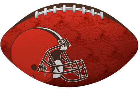 Orange side of a NFL Cleveland Browns Gridiron football with the team logo