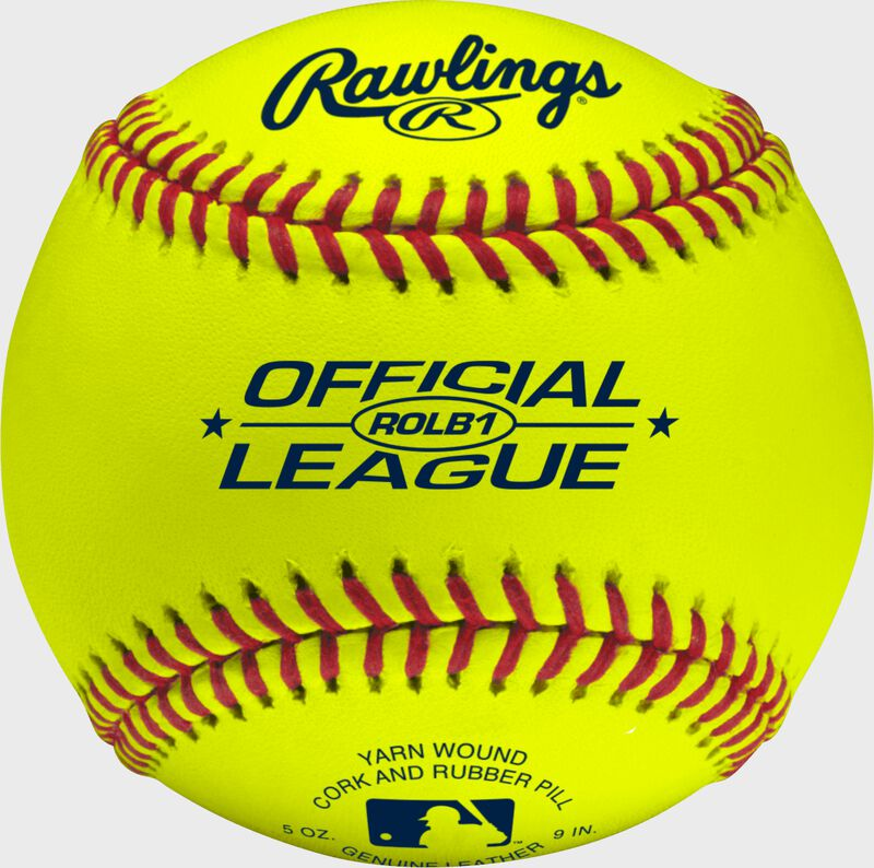 ROLB1Y Yellow Official League youth baseball with a yellow cover and raised seams