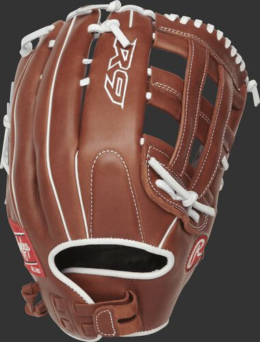 R9SB130-6DB 13-inch R9 softball h web outfield glove with a brown back and Pull-Strap back design