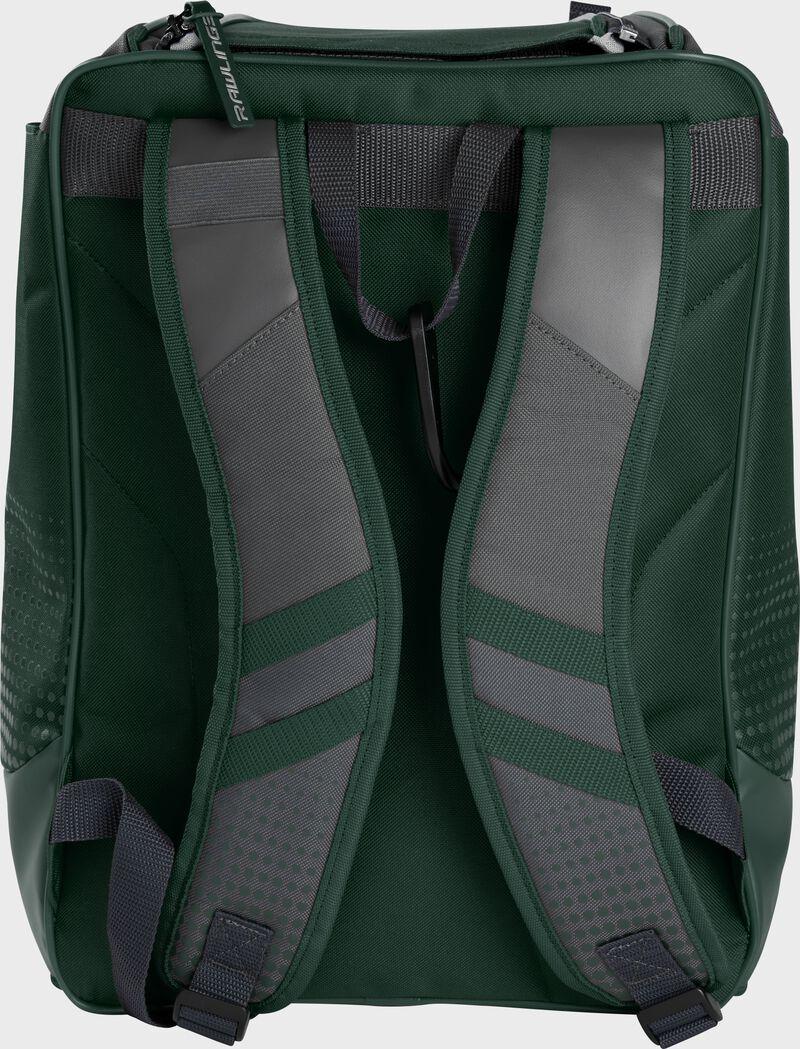 Back of a dark green Rawlings Franchise backpack with gray shoulder straps - SKU: FRANBP-DG